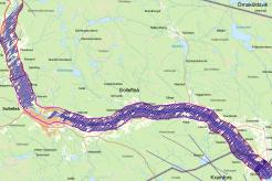 Karta över del av Ångermanälven. Markeringen visar var helikoptern flugit till och med 8 oktober.
