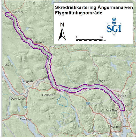 Karta över Ångermanälven, markering visar mätområde för helikopter