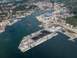Flygfoto över Oskarshamns hamn