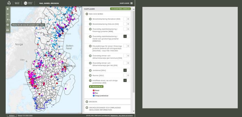 Utsnitt ur kartvisningstjänst om ras, skred och erosion. En gemensam tjänst för myndigheterna SGU, MSB och SGI