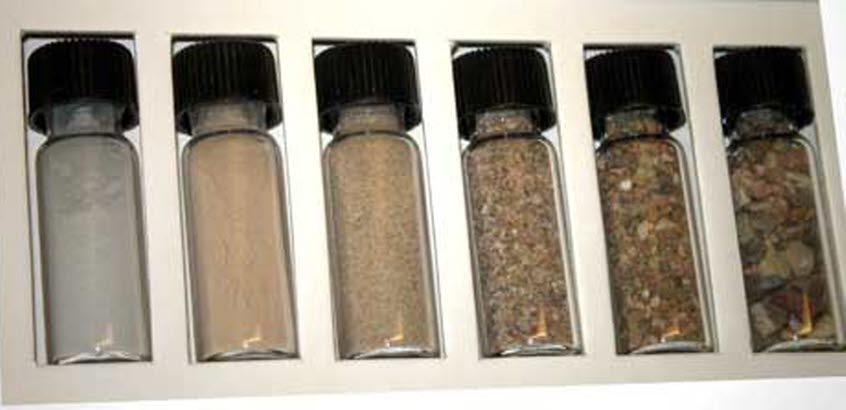 Glasburkar med olika typer jordarter.