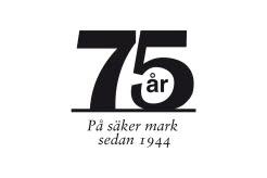 Svart 75-års logga