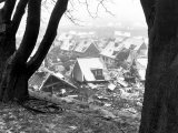 Hus som raserats vid skredet i Tuve 30 november 1977.