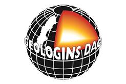 Logotyp Geologins dag. Jordklot i genomskärning, med texten Geologins dag runt om.